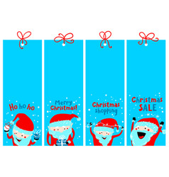 christmas shopping tags with santa claus winter vector image
