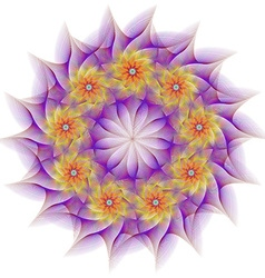 Circular fractal flower design vector