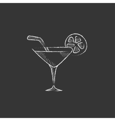 Cocktail glass Drawn in chalk icon vector image vector image