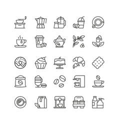 coffee and tea drinks linear icons set vector image