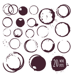 Coffee or wine stain round spots vector
