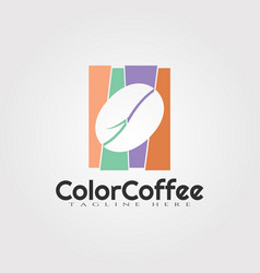 Color coffee beans logo design food icon element vector