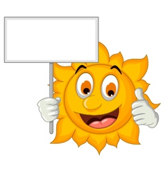 cute sun cartoon holding blank sign vector image