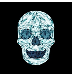 Diamond skull on black background vector