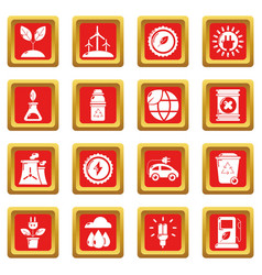 ecology icons set red square vector image