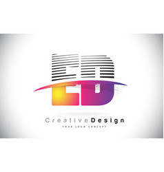 ed e d letter logo design with creative lines and vector image