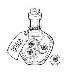 Eyeballs in glass bottle isolated sticker patch vector