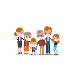 family wearing medical mask to prevent infection vector image
