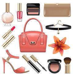 Fashion accessories set 9 vector