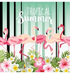 Flamingo bird background retro pattern tropical vector
