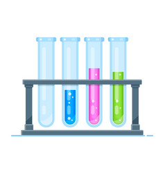 Flat glass tubes icon isolated background vector