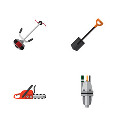 Flat icon garden set of grass-cutter pump vector