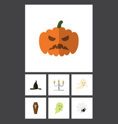 Flat icon halloween set of candlestick ghost vector