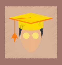 Flat shading style icon master scientist glasses vector