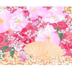 Flowers and seashell roses and orchids celebration vector