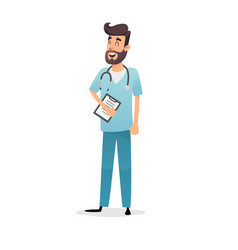 friendly cartoon physician with stethoscope and vector image
