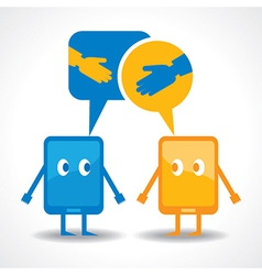 friendship by gadget concept stock vector image