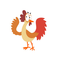 funny hen comic cartoon chicken bird character vector image