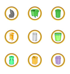 Garbage business icon set cartoon style vector