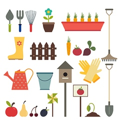 Garden and gardening tools icon set Isolated on a vector