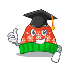Graduation winter hat in mascot shape vector