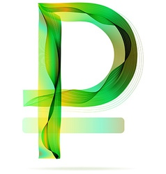 Green abstract Ruble sign vector image