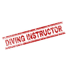 Grunge textured diving instructor stamp seal vector