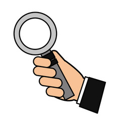 hand holding magnifying glass social media vector image
