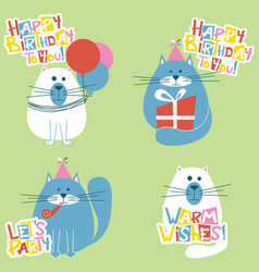 happy birthday cats set vector image