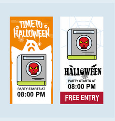 happy halloween invitation design with devil book vector image