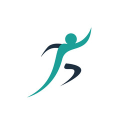 healthy running man logo design icon elements vector image