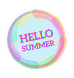 hello summer message vector image