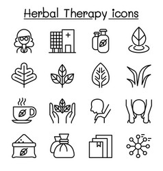 herbal therapy spa icon set in thin line style vector image