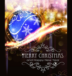 Holiday background with blue christmas ball vector