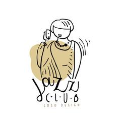 Jazz club logo design vintage music label vector