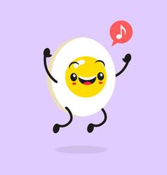 kawaii food cartoon egg happy funny asian vector image