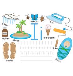 Letter i english alphabet educational game vector