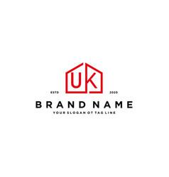Letter uk home logo design concept vector