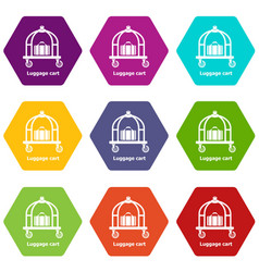 luggage cart icons set 9 vector image