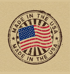 Made in the usa stamp on cardboard background vector