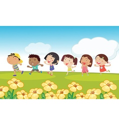 Many kids running around the park vector image