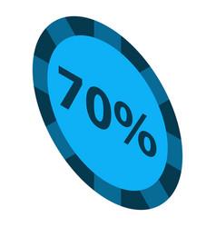 minus 70 percent sale icon isometric style vector image