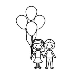 Monochrome contour of caricature of couple in suit vector
