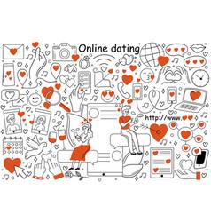 online dating doodle set vector image