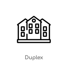 Outline duplex icon isolated black simple line vector
