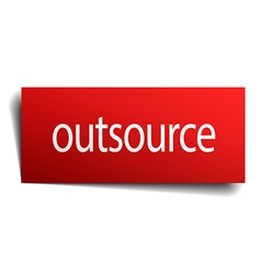 Outsource red square isolated paper sign on white vector