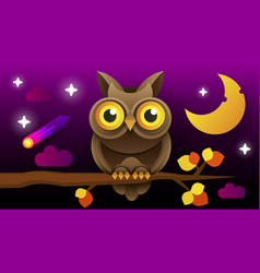 owl isolated icon wild forest feathered nocturnal vector image