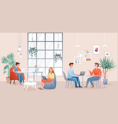 people work or study in creative modern coworking vector image