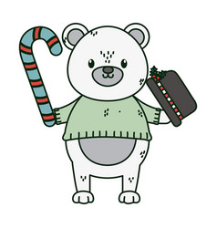 polar bear hat and candy cane celebration merry vector image