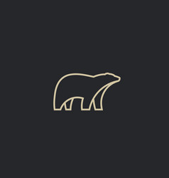 polar bear linear logo animal logotype vector image